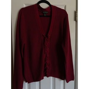 Plus Forever21 Crimson Lace-Up Sweater